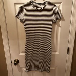 Black & White Striped Fitted Dress